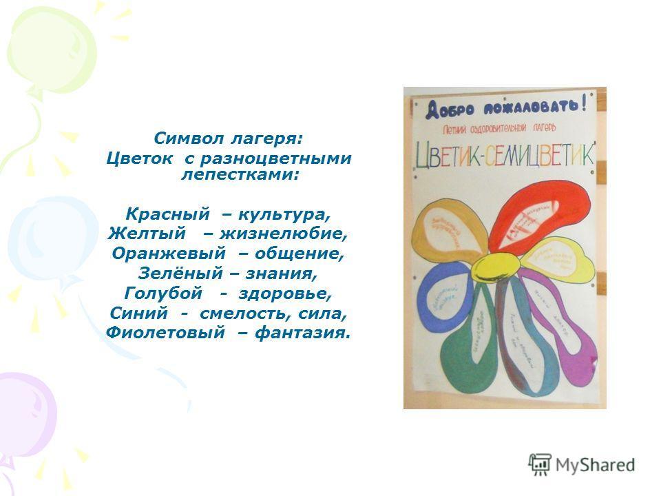 Символ лагеря: Цветок с разноцветными лепестками: Красный – культура, Желтый – жизнелюбие, Оранжевый – общение, Зелёный – знания, Голубой - здоровье, Синий - смелость, сила, Фиолетовый – фантазия.