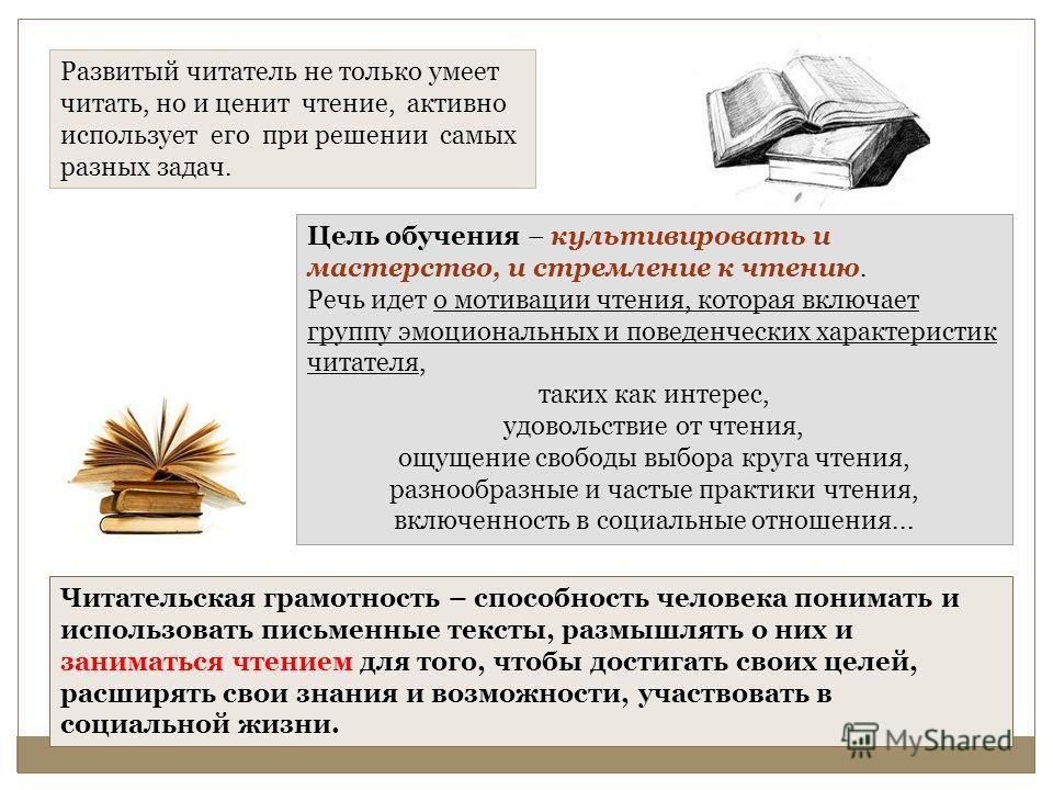 Читательская грамотность – способность человека понимать и использовать письменные тексты, размышлять о них и заниматься чтением для того, чтобы достигать своих целей, расширять свои знания и возможности, участвовать в социальной жизни. Развитый чита
