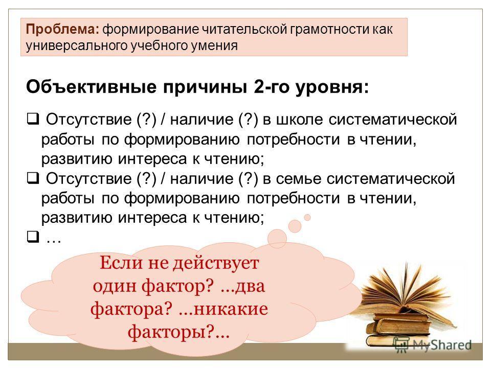 Проблема: формирование читательской грамотности как универсального учебного умения Объективные причины 2-го уровня: Отсутствие (?) / наличие (?) в школе систематической работы по формированию потребности в чтении, развитию интереса к чтению; Отсутств
