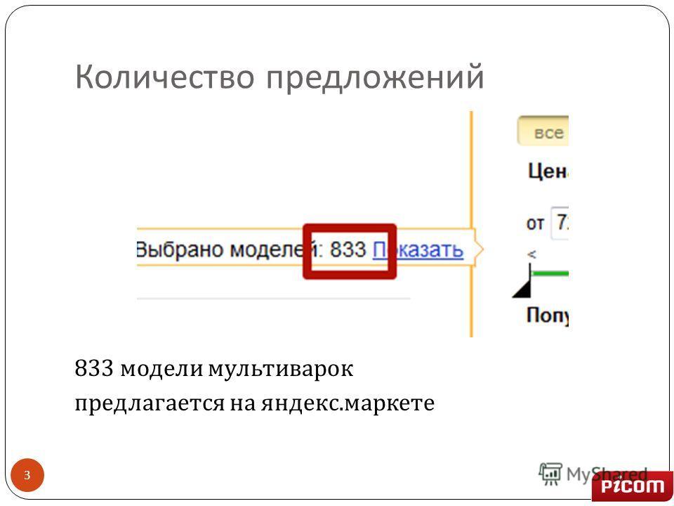 Количество предложений 833 модели мультиварок предлагается на яндекс. маркете 3