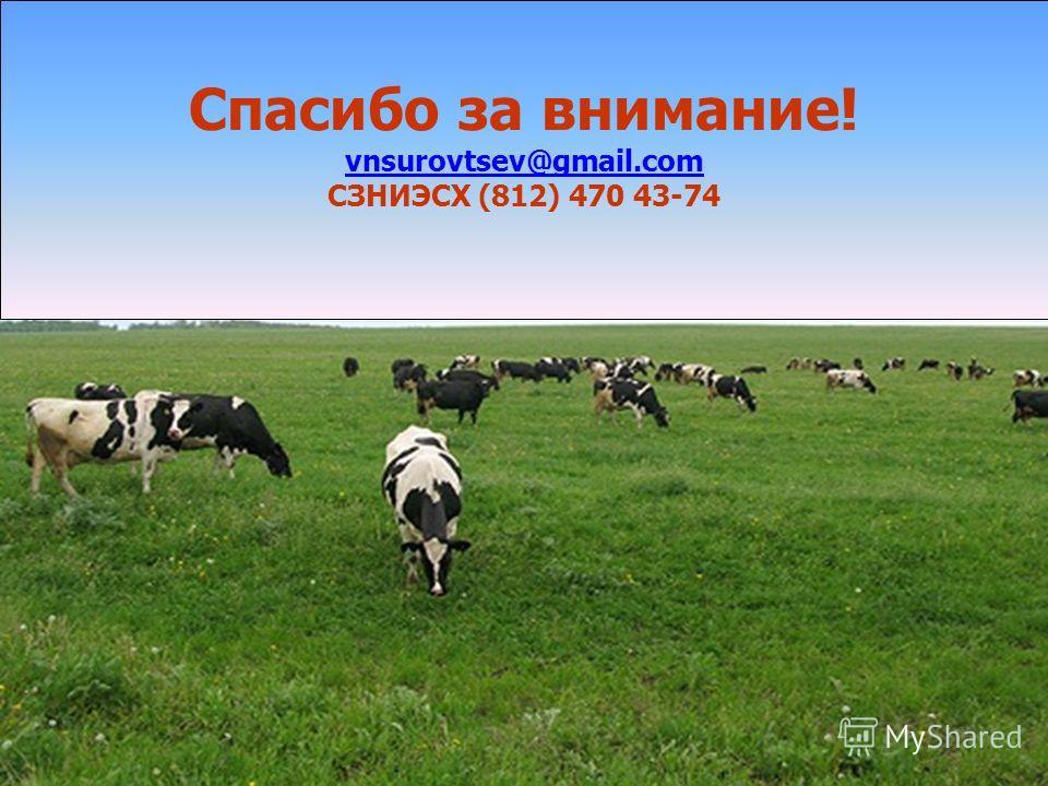 Спасибо за внимание! vnsurovtsev@gmail.com СЗНИЭСХ (812) 470 43-74