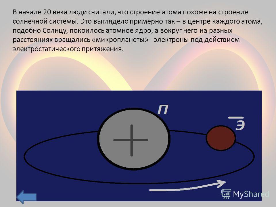 В начале 20 века люди считали, что строение атома похоже на строение солнечной системы. Это выглядело примерно так – в центре каждого атома, подобно Солнцу, покоилось атомное ядро, а вокруг него на разных расстояниях вращались «микропланеты» - электр