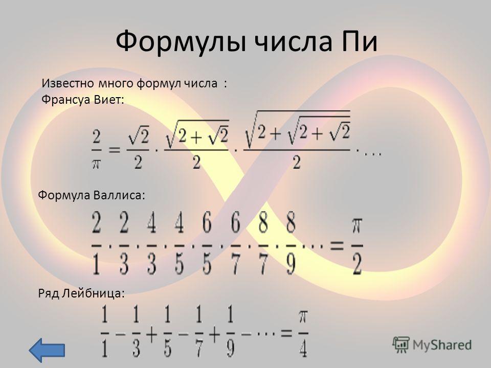 Формулы числа Пи Известно много формул числа : Франсуа Виет: Формула Валлиса: Ряд Лейбница: