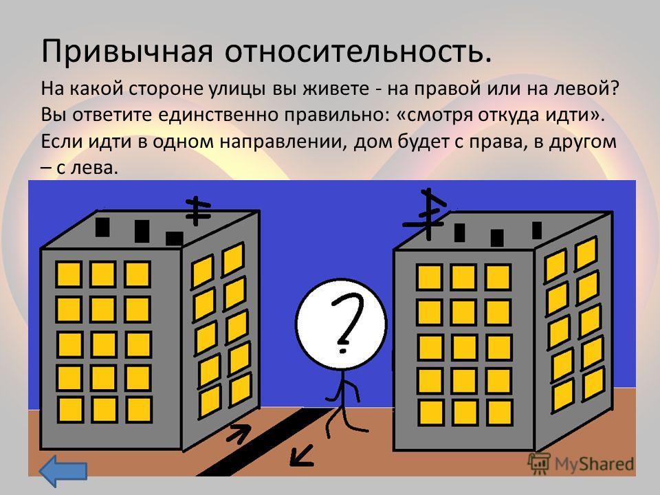Привычная относительность. На какой стороне улицы вы живете - на правой или на левой? Вы ответите единственно правильно: «смотря откуда идти». Если идти в одном направлении, дом будет с права, в другом – с лева.