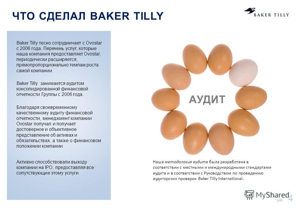 www.bakertilly.ua 4 ВАШИ ЦЕЛИ Наша методология аудита была разработана в соответствии с местными и международными стандартами аудита и в соответствии с Руководством по проведению аудиторских проверок Baker Tilly International. ЧТО СДЕЛАЛ BAKER TILLY