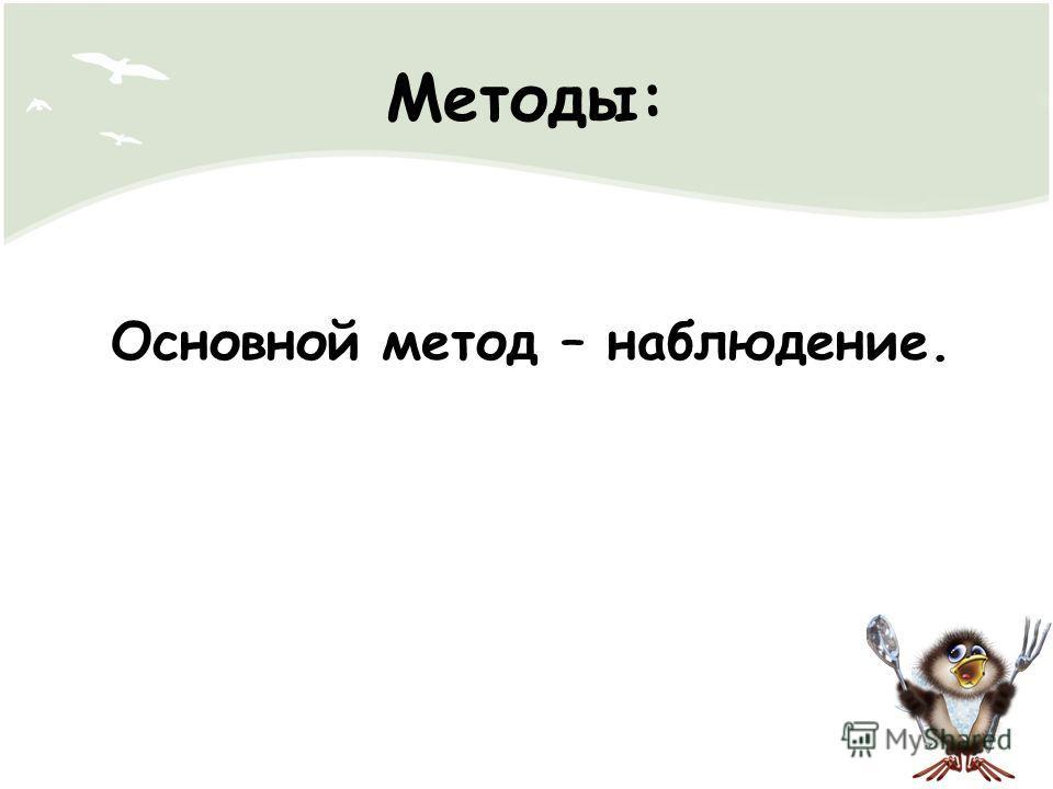 Методы: Основной метод – наблюдение.