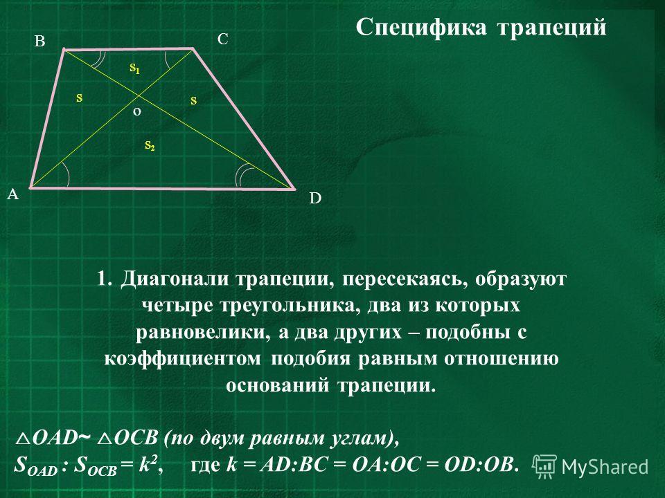 C D B A s s1s1 s s2s2 o Специфика трапеций 1.Диагонали трапеции, пересекаясь, образуют четыре треугольника, два из которых равновелики, а два других – подобны с коэффициентом подобия равным отношению оснований трапеции. OAD ~ OCB (по двум равным угла
