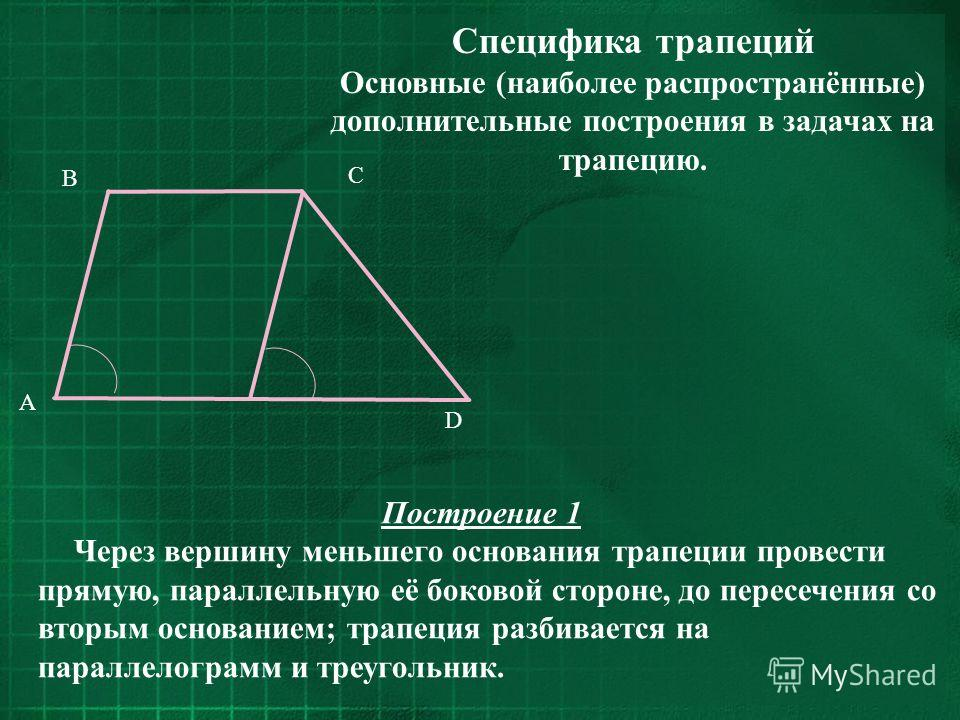 Основные (наиболее распространённые) дополнительные построения в задачах на трапецию. C D B A Построение 1 Через вершину меньшего основания трапеции провести прямую, параллельную её боковой стороне, до пересечения со вторым основанием; трапеция разби