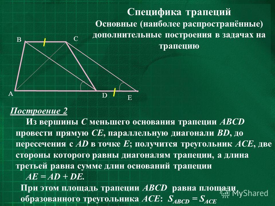 Специфика трапеций Основные (наиболее распространённые) дополнительные построения в задачах на трапецию C D B A E Построение 2 Из вершины С меньшего основания трапеции ABCD провести прямую CE, параллельную диагонали BD, до пересечения с AD в точке E;