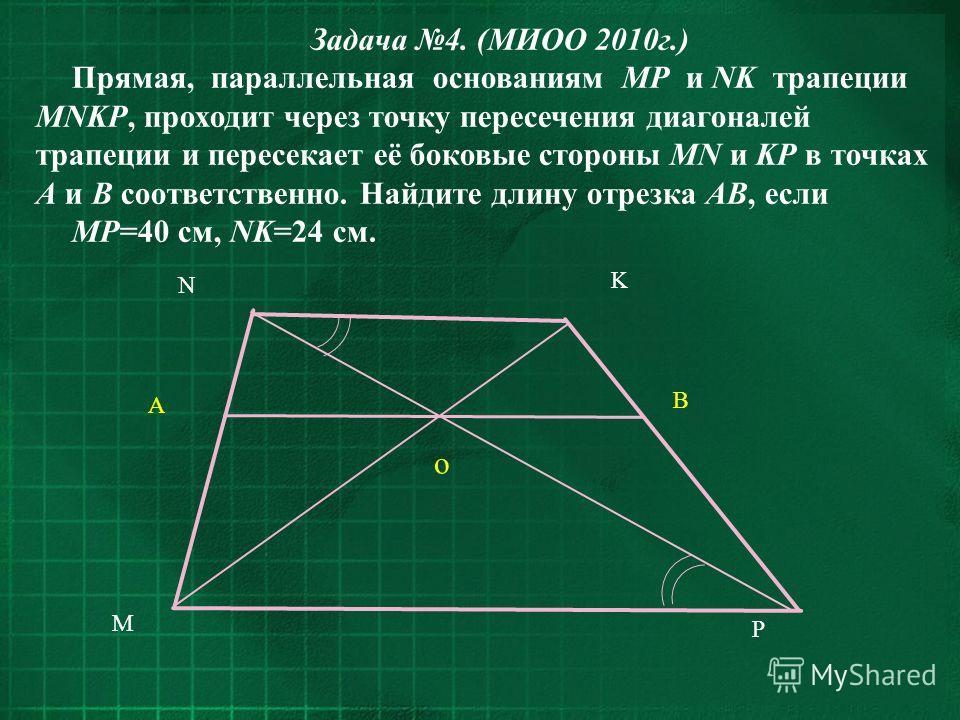 K P N A o M B Задача 4. (МИОО 2010г.) Прямая, параллельная основаниям MP и NK трапеции MNKP, проходит через точку пересечения диагоналей трапеции и пересекает её боковые стороны MN и KP в точках A и B соответственно. Найдите длину отрезка AB, если MP