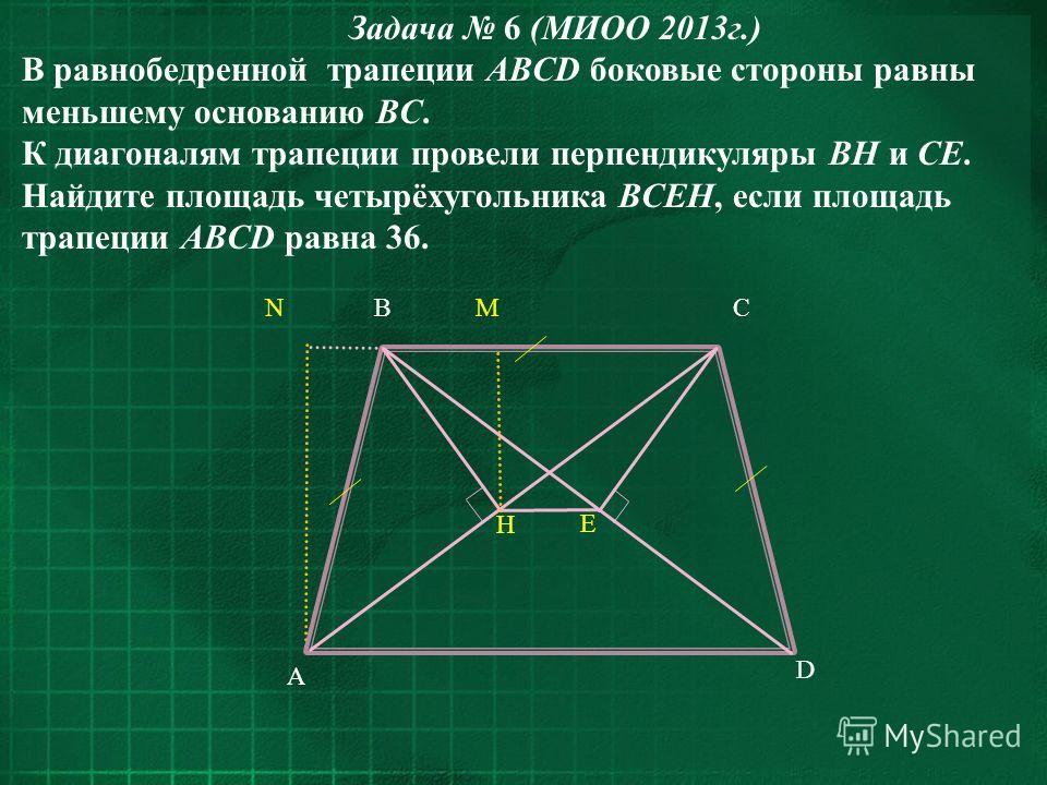 Задача 6 (МИОО 2013г.) В равнобедренной трапеции ABCD боковые стороны равны меньшему основанию BC. К диагоналям трапеции провели перпендикуляры BH и CE. Найдите площадь четырёхугольника BCEH, если площадь трапеции ABCD равна 36. D A BNCM H E