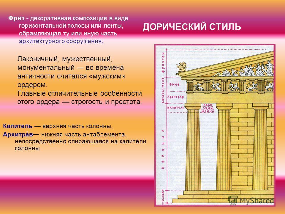 ДОРИЧЕСКИЙ СТИЛЬ Капитель верхняя часть колонны, Архитрáв нижняя часть антаблемента, непосредственно опирающаяся на капители колонны Лаконичный, мужественный, монументальный во времена античности считался «мужским» ордером. Главные отличительные особ