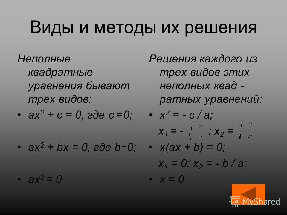 Виды и методы их решения Неполные квадратные уравнения бывают трех видов: ах 2 + с = 0, где с 0; ах 2 + bх = 0, где b 0; ах 2 = 0 Решения каждого из трех видов этих неполных квад - ратных уравнений: х 2 = - с / а; х 1 = - ; х 2 = х(ах + b) = 0; х 1 =