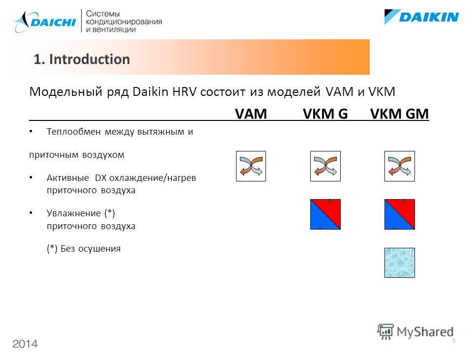 5 Модельный ряд Daikin HRV состоит из моделей VAM и VKM VAMVKM GVKM GM Теплообмен между вытяжным и приточным воздухом Активные DX охлаждение/нагрев приточного воздуха Увлажнение (*) приточного воздуха (*) Без осушения 1. Introduction - + - +