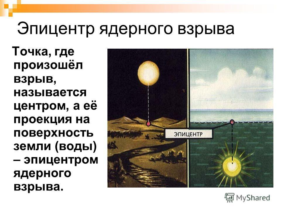 Эпицентр ядерного взрыва Точка, где произошёл взрыв, называется центром, а её проекция на поверхность земли (воды) – эпицентром ядерного взрыва.