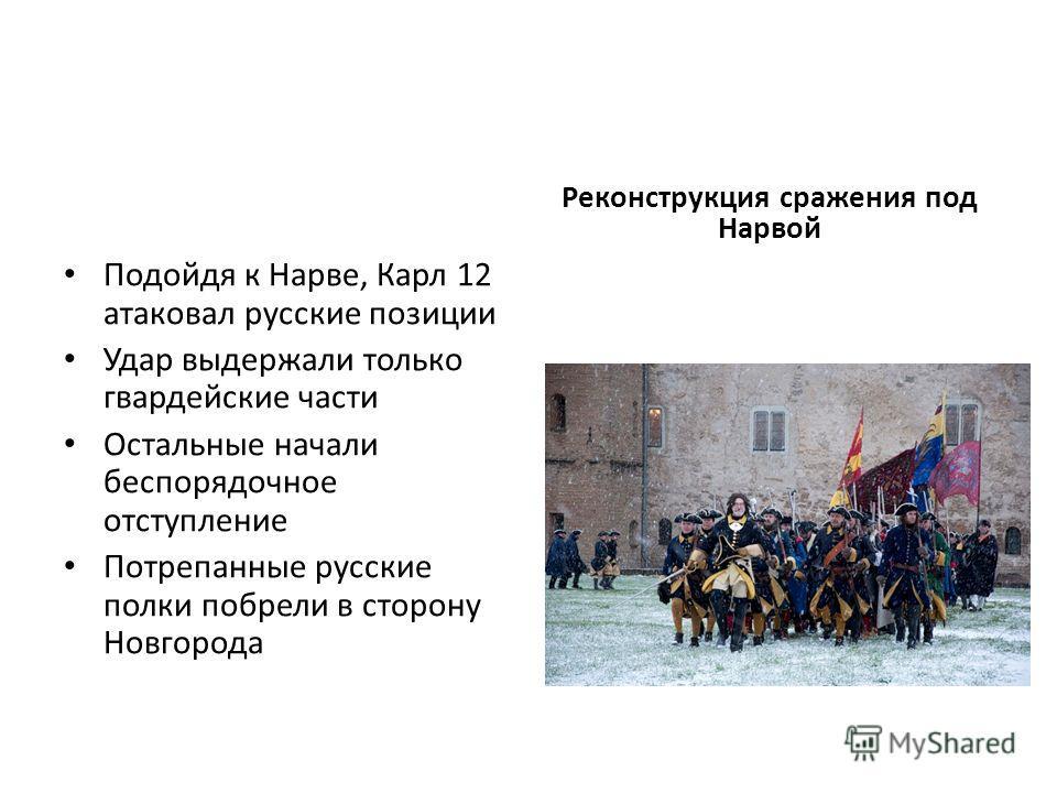 Подойдя к Нарве, Карл 12 атаковал русские позиции Удар выдержали только гвардейские части Остальные начали беспорядочное отступление Потрепанные русские полки побрели в сторону Новгорода Реконструкция сражения под Нарвой