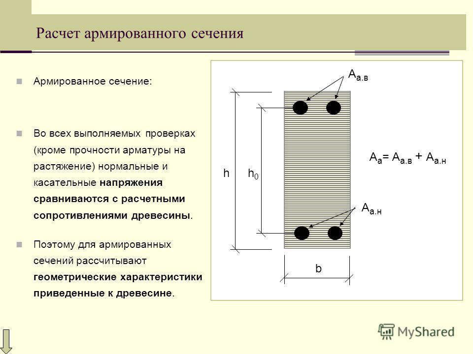 Расчет армированного сечения Армированное сечение: Во всех выполняемых проверках (кроме прочности арматуры на растяжение) нормальные и касательные напряжения сравниваются с расчетными сопротивлениями древесины. Поэтому для армированных сечений рассчи