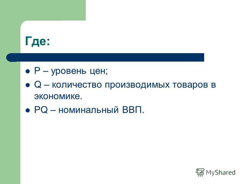 Где: P – уровень цен; Q – количество производимых товаров в экономике. PQ – номинальный ВВП.