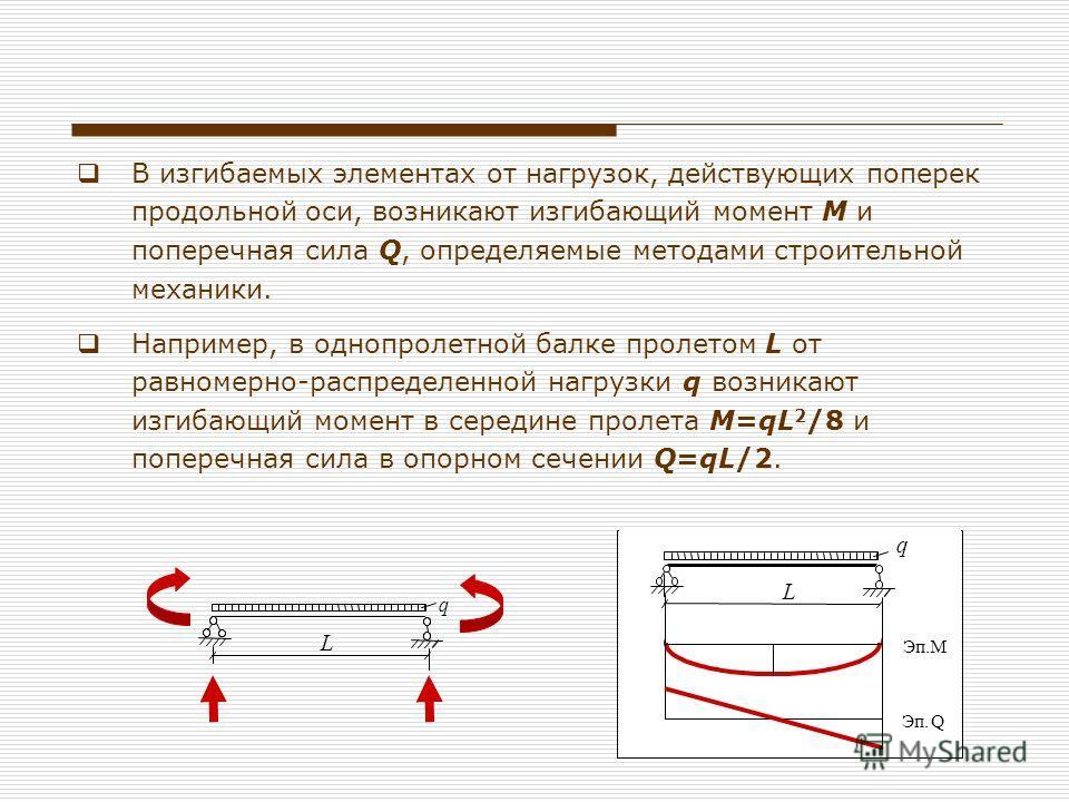 В изгибаемых элементах от нагрузок, действующих поперек продольной оси, возникают изгибающий момент М и поперечная сила Q, определяемые методами строительной механики. Например, в однопролетной балке пролетом L от равномерно-распределенной нагрузки q