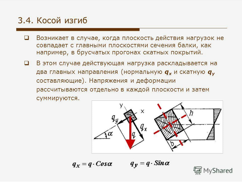 Возникает в случае, когда плоскость действия нагрузок не совпадает с главными плоскостями сечения балки, как например, в брусчатых прогонах скатных покрытий. В этом случае действующая нагрузка раскладывается на два главных направления (нормальную q x