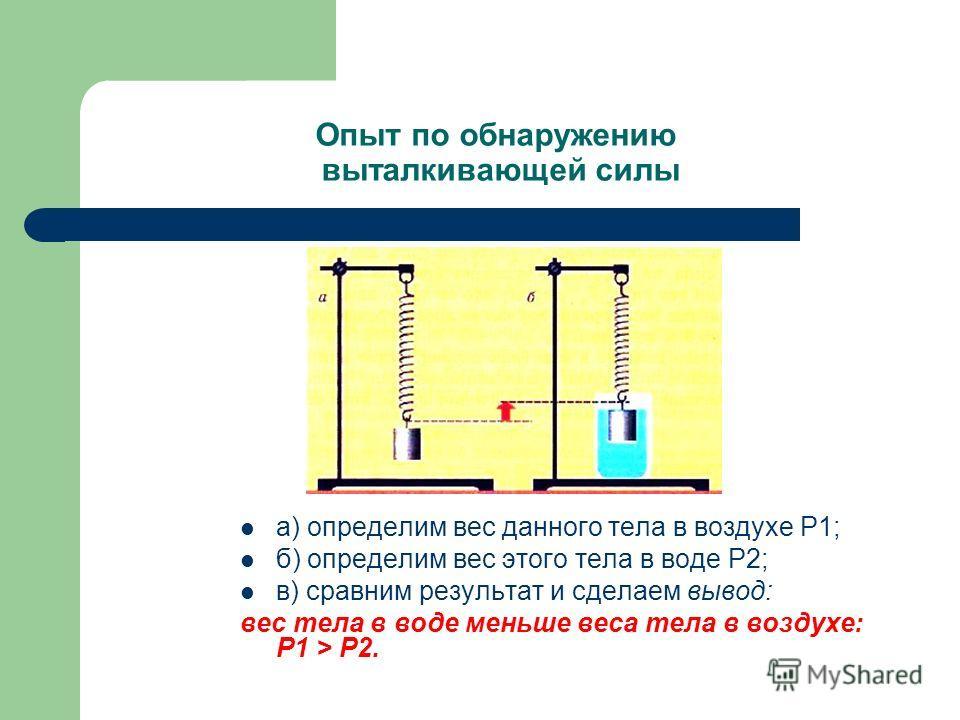 Опыт по обнаружению выталкивающей силы а) определим вес данного тела в воздухе Р1; б) определим вес этого тела в воде Р2; в) сравним результат и сделаем вывод: вес тела в воде меньше веса тела в воздухе: Р1 > Р2.