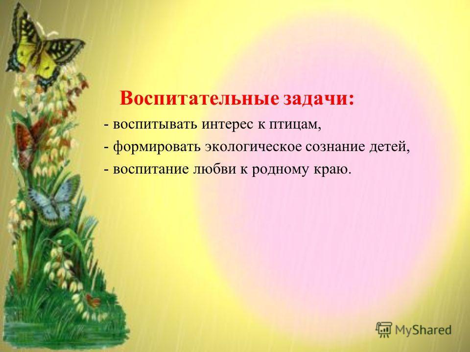 Воспитательные задачи: - воспитывать интерес к птицам, - формировать экологическое сознание детей, - воспитание любви к родному краю.
