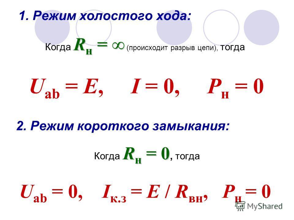 1. Режим холостого хода: R н = Когда R н = (происходит разрыв цепи), тогда U ab = Е, I = 0, Р н = 0 2. Режим короткого замыкания: R н = 0 Когда R н = 0, тогда U ab = 0, I к.з = Е / R вн, Р н = 0