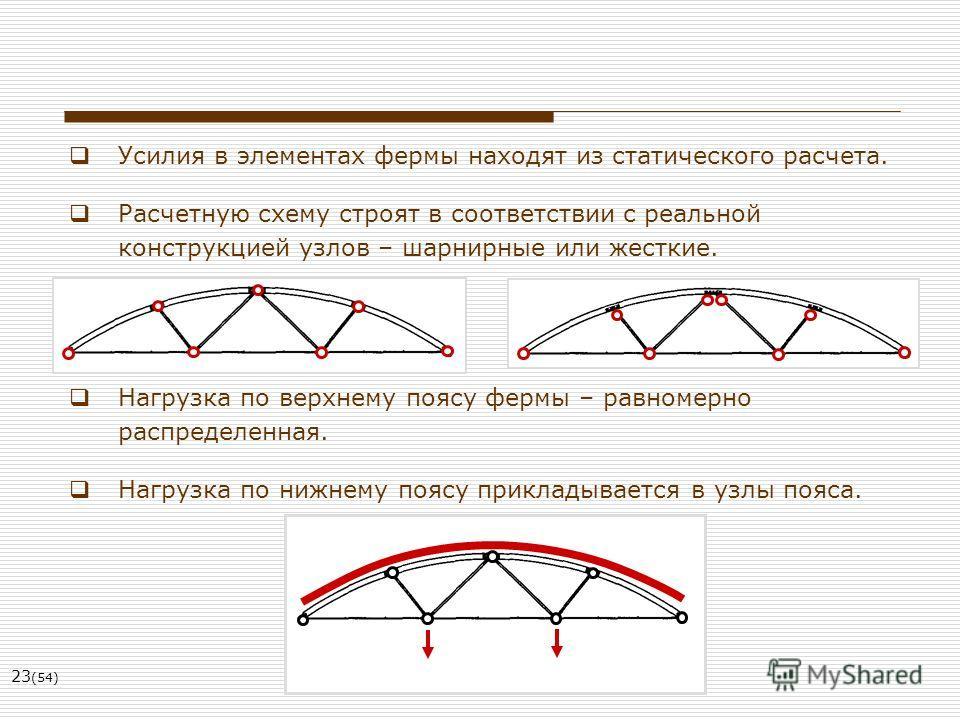 23 (54) Усилия в элементах фермы находят из статического расчета. Расчетную схему строят в соответствии с реальной конструкцией узлов – шарнирные или жесткие. Нагрузка по верхнему поясу фермы – равномерно распределенная. Нагрузка по нижнему поясу при