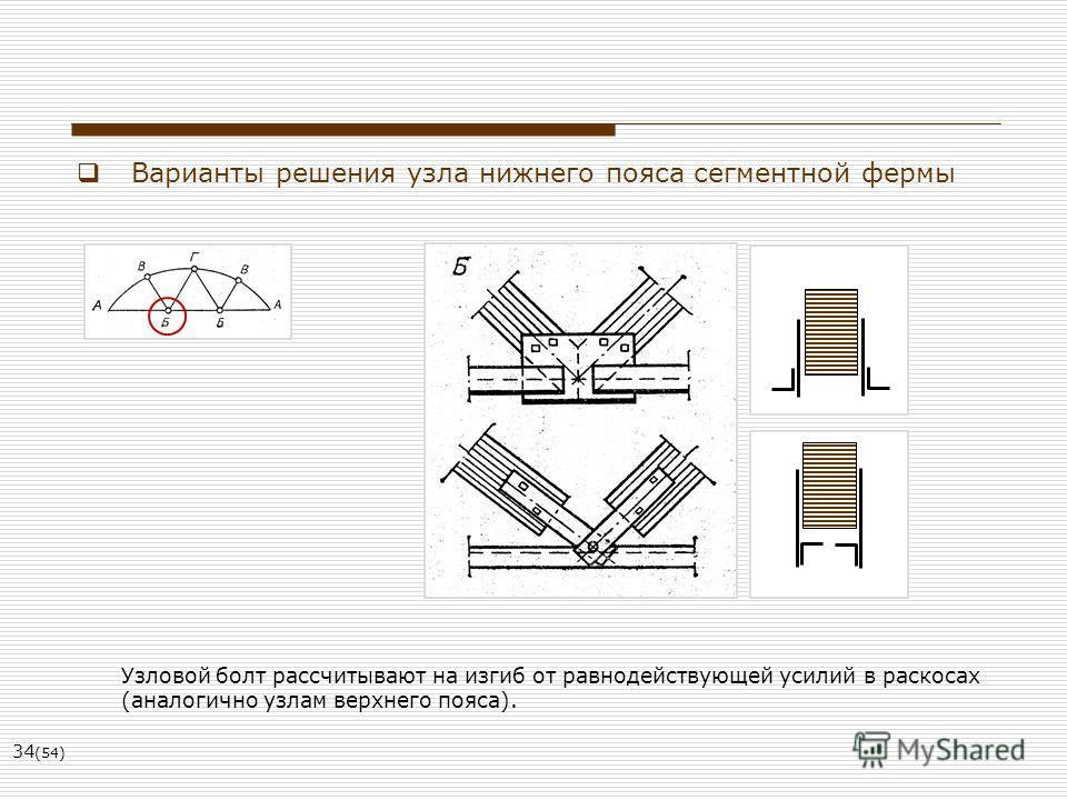 34 (54) Варианты решения узла нижнего пояса сегментной фермы Узловой болт рассчитывают на изгиб от равнодействующей усилий в раскосах (аналогично узлам верхнего пояса).