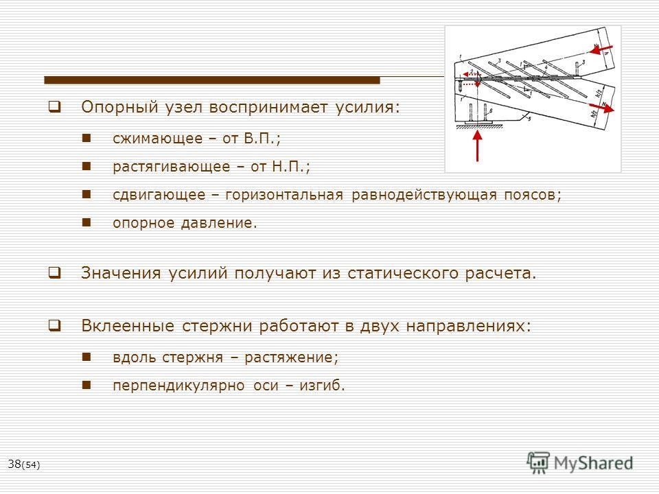 38 (54) Опорный узел воспринимает усилия: сжимающее – от В.П.; растягивающее – от Н.П.; сдвигающее – горизонтальная равнодействующая поясов; опорное давление. Значения усилий получают из статического расчета. Вклеенные стержни работают в двух направл