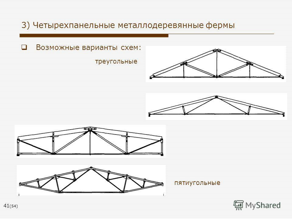 41 (54) 3) Четырехпанельные металлодеревянные фермы Возможные варианты схем: треугольные пятиугольные