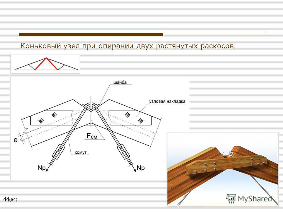 44 (54) Коньковый узел при опирании двух растянутых раскосов.
