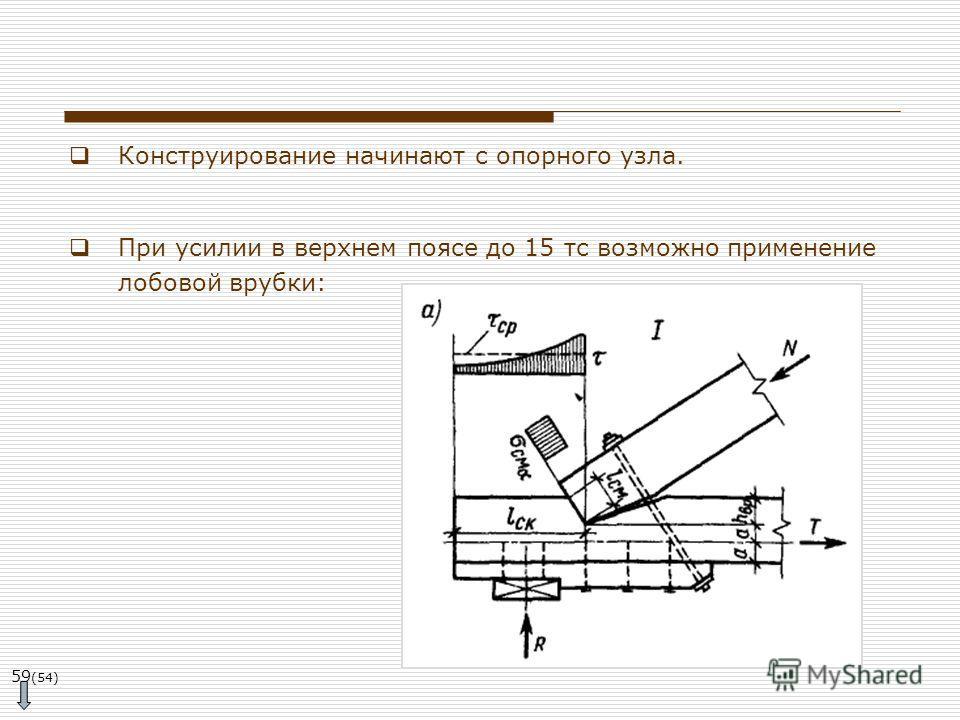 59 (54) Конструирование начинают с опорного узла. При усилии в верхнем поясе до 15 тс возможно применение лобовой врубки: