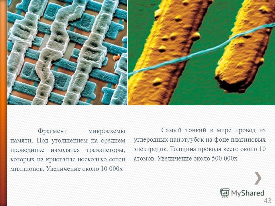43 Фрагмент микросхемы памяти. Под утолщением на среднем проводнике находятся транзисторы, которых на кристалле несколько сотен миллионов. Увеличение около 10 000х Самый тонкий в мире провод из углеродных нанотрубок на фоне платиновых электродов. Тол