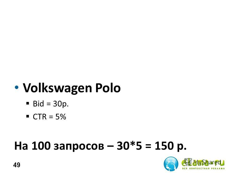 Volkswagen Polo Bid = 30р. СTR = 5% На 100 запросов – 30*5 = 150 р. 49