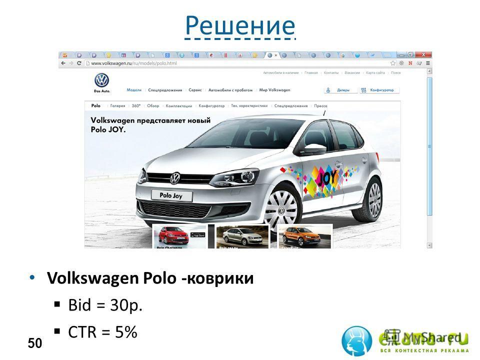 Решение Volkswagen Polo -коврики Bid = 30р. СTR = 5% 50