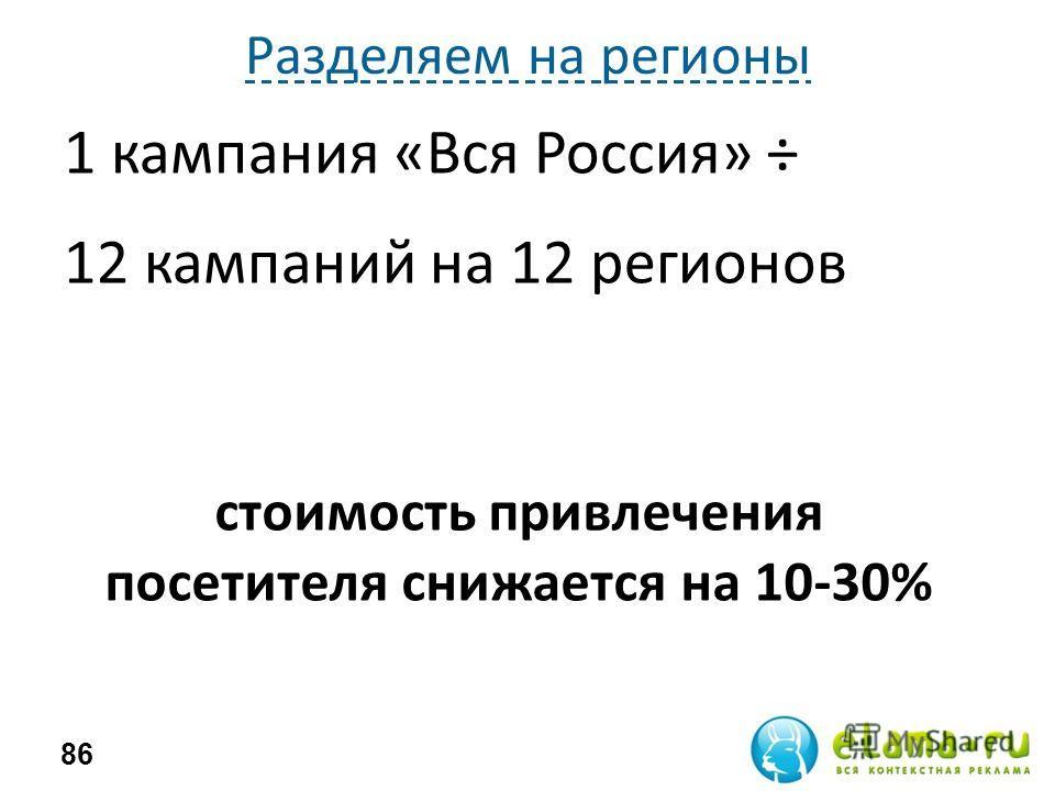 Разделяем на регионы 1 кампания «Вся Россия» ÷ 12 кампаний на 12 регионов 86 стоимость привлечения посетителя снижается на 10-30%