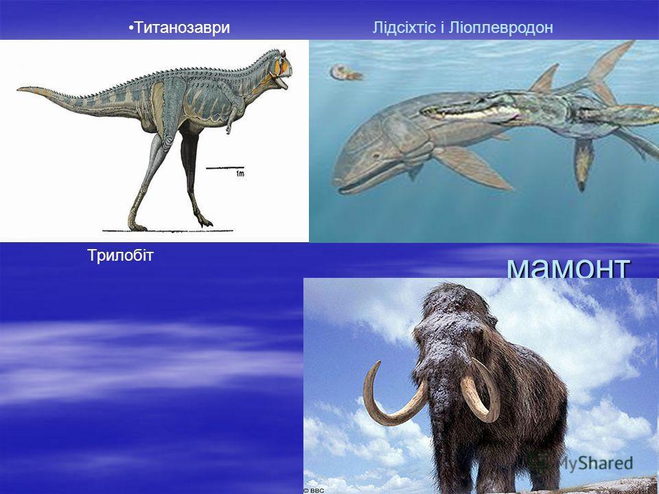 тирекс Склероторакс Псевдотрібос Іхтіозавр
