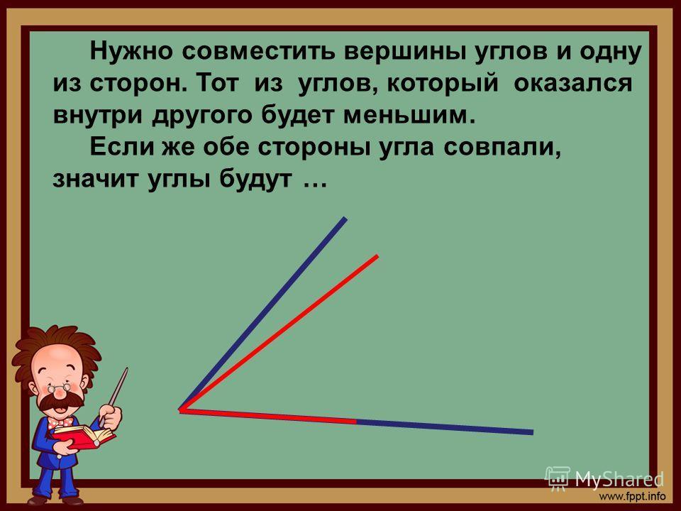 Нужно совместить вершины углов и одну из сторон. Тот из углов, который оказался внутри другого будет меньшим. Если же обе стороны угла совпали, значит углы будут …