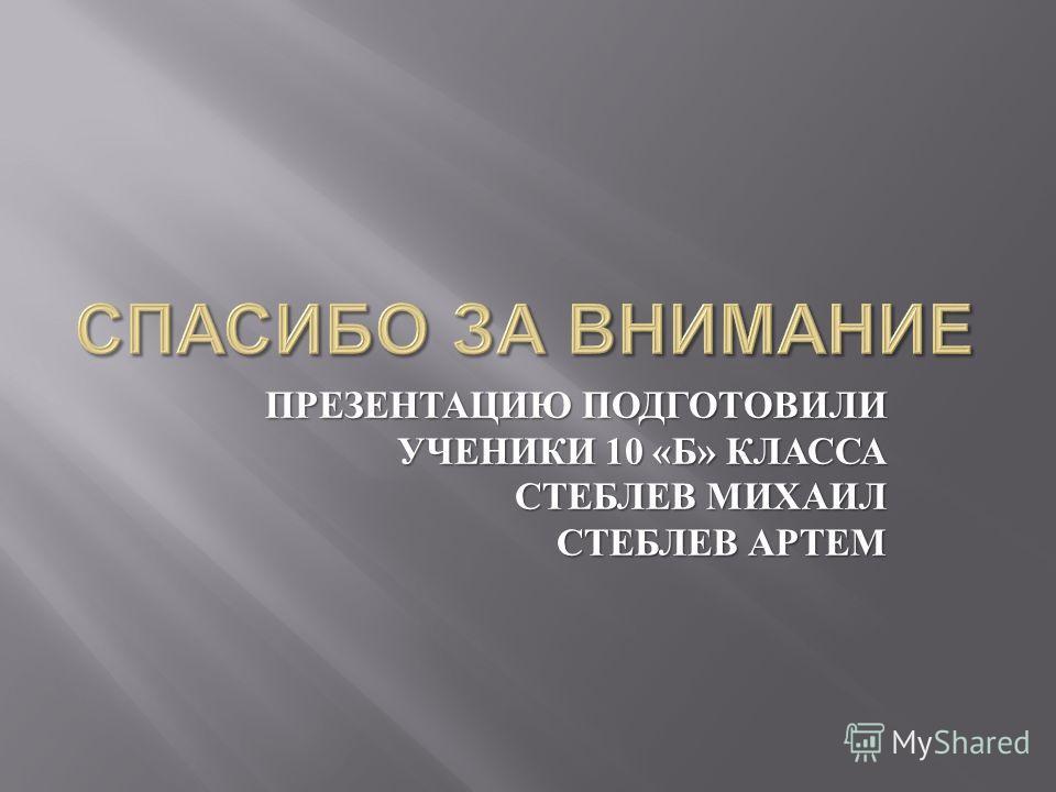 ПРЕЗЕНТАЦИЮ ПОДГОТОВИЛИ УЧЕНИКИ 10 « Б » КЛАССА СТЕБЛЕВ МИХАИЛ СТЕБЛЕВ АРТЕМ