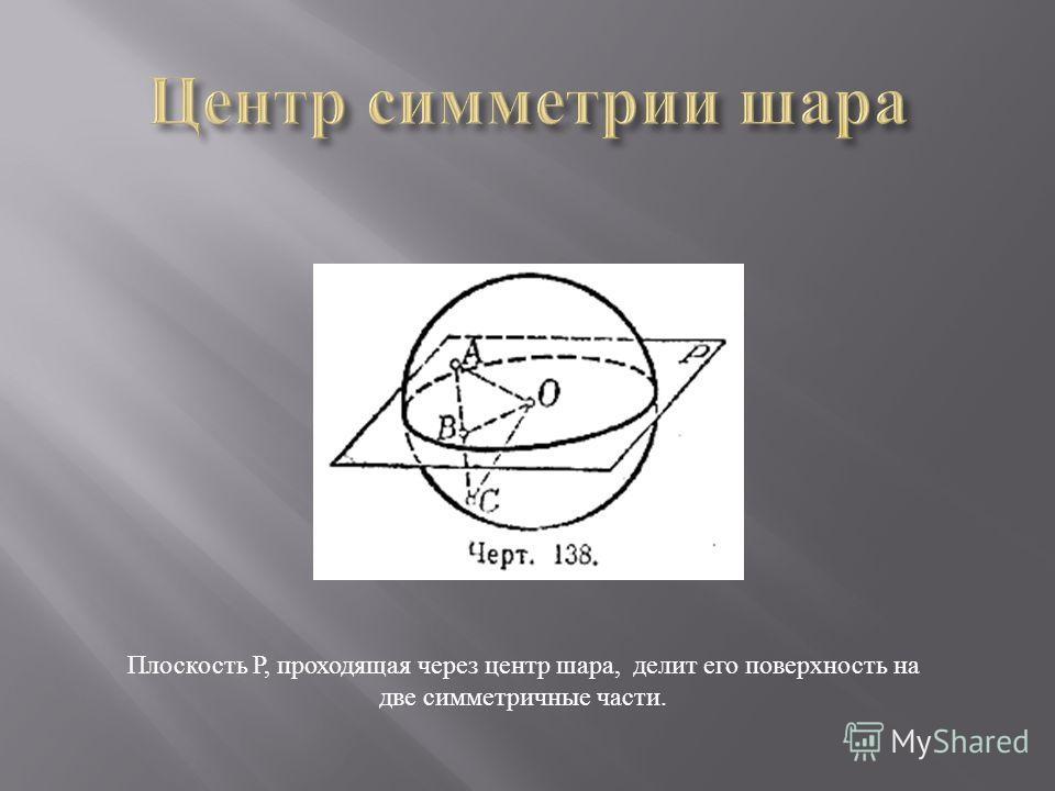 Плоскость Р, проходящая через центр шара, делит его поверхность на две симметричные части.