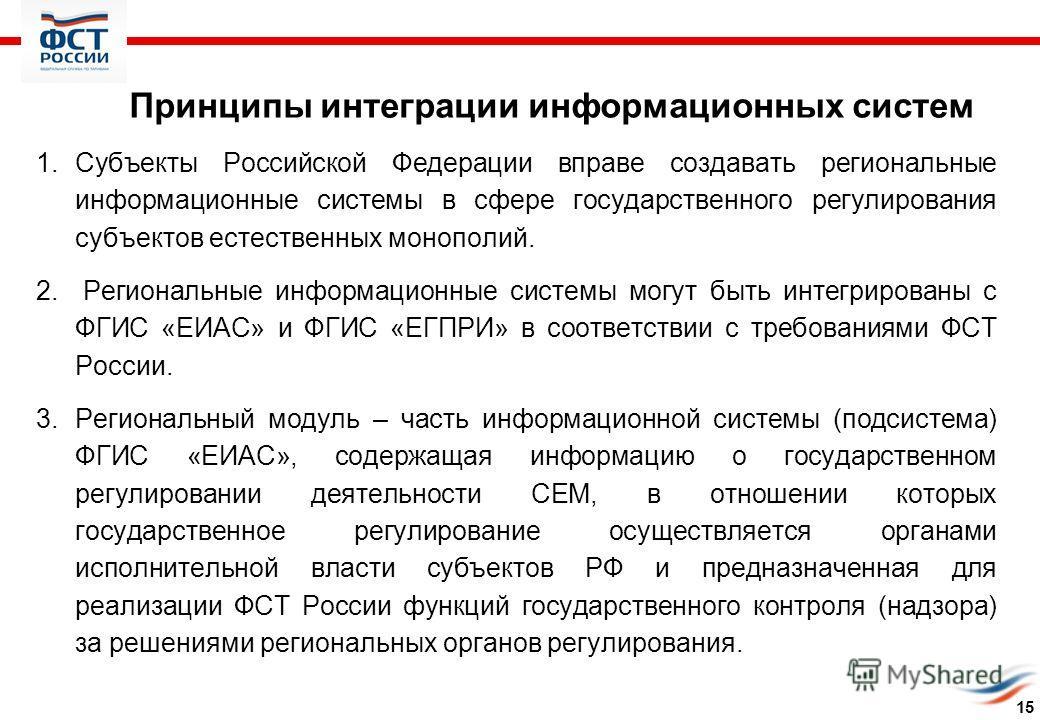 Принципы интеграции информационных систем 1.Субъекты Российской Федерации вправе создавать региональные информационные системы в сфере государственного регулирования субъектов естественных монополий. 2. Региональные информационные системы могут быть