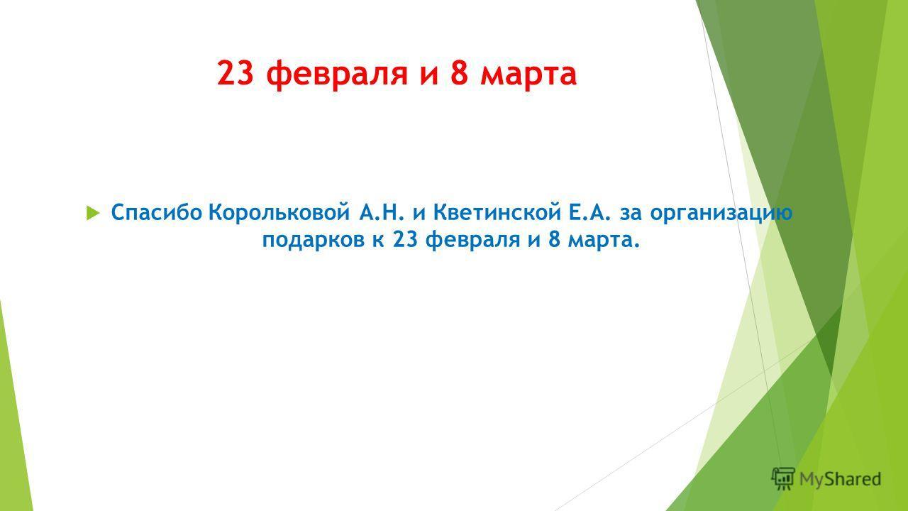 23 февраля и 8 марта Спасибо Корольковой А.Н. и Кветинской Е.А. за организацию подарков к 23 февраля и 8 марта.