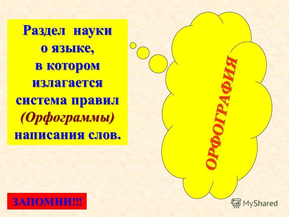 ОРФОГРАФИЯ ОРФОГРАФИЯ Раздел науки о языке, в котором излагается система правил (Орфограммы) написания слов. ЗАПОМНИ!!!