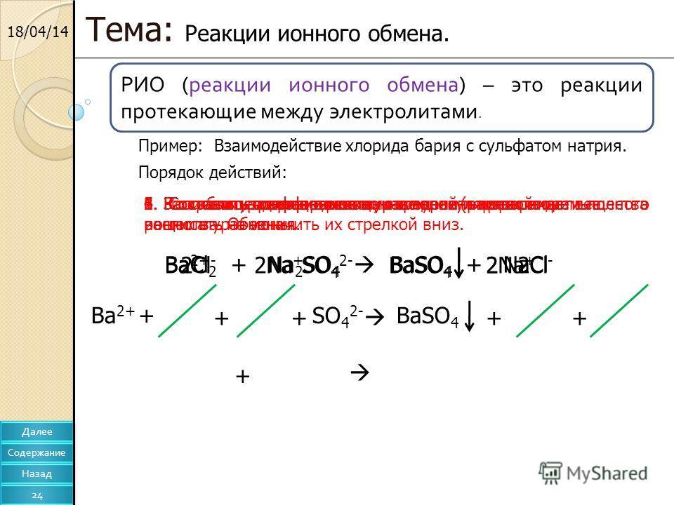 18/04/14 Тема: Реакции ионного обмена. Пример: Взаимодействие хлорида бария с сульфатом натрия. BaCl 2 + Na 2 SO 4 BaSO 4 + NaClBa 2+ 2Cl - + + 2Na + SO 4 2- + 1. Записать уравнение реакции в молекулярном виде. Порядок действий: 2. Расставить коэффиц