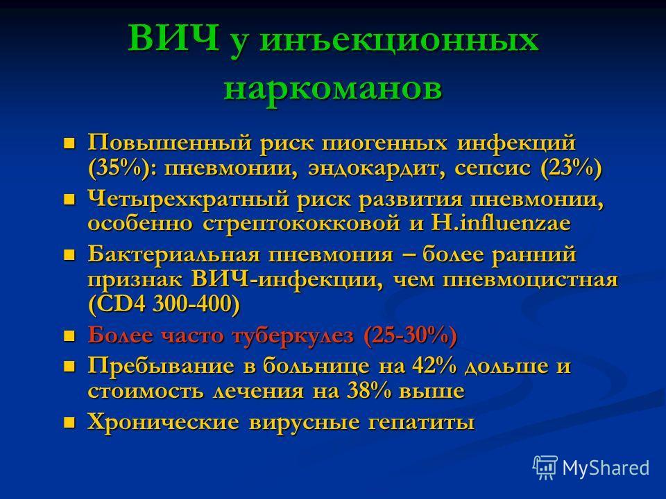 ВИЧ у инъекционных наркоманов Повышенный риск пиогенных инфекций (35%): пневмонии, эндокардит, сепсис (23%) Повышенный риск пиогенных инфекций (35%): пневмонии, эндокардит, сепсис (23%) Четырехкратный риск развития пневмонии, особенно стрептококковой