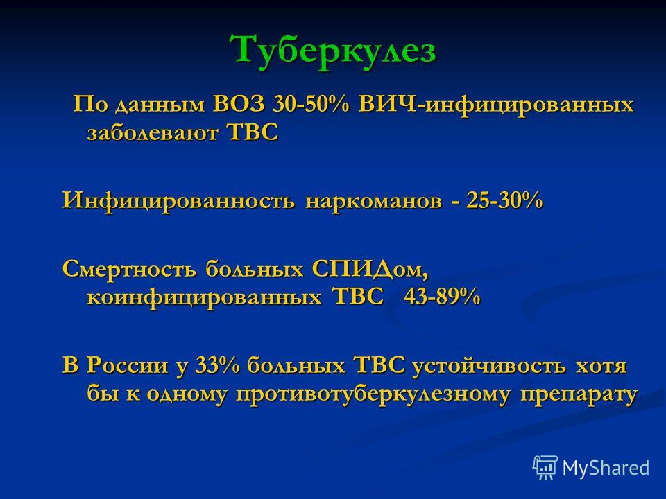 Туберкулез По данным ВОЗ 30-50% ВИЧ-инфицированных заболевают ТВС По данным ВОЗ 30-50% ВИЧ-инфицированных заболевают ТВС Инфицированность наркоманов - 25-30% Смертность больных СПИДом, коинфицированных ТВС 43-89% В России у 33% больных ТВС устойчивос