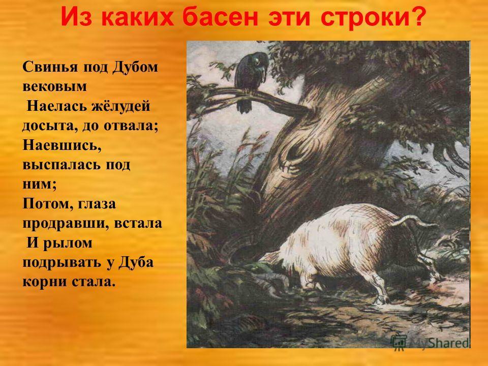 Из каких басен эти строки? Свинья под Дубом вековым Наелась жёлудей досыта, до отвала; Наевшись, выспалась под ним; Потом, глаза продравши, встала И рылом подрывать у Дуба корни стала.