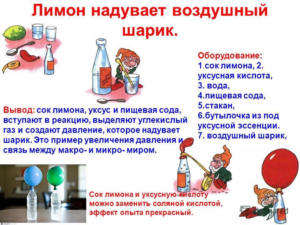Лимон надувает воздушный шарик. Оборудование: 1. сок лимона, 2. уксусная кислота, 3. вода, 4.пищевая сода, 5.стакан, 6.бутылочка из под уксусной эссенции. 7. воздушный шарик, Вывод: сок лимона, уксус и пищевая сода, вступают в реакцию, выделяют углек