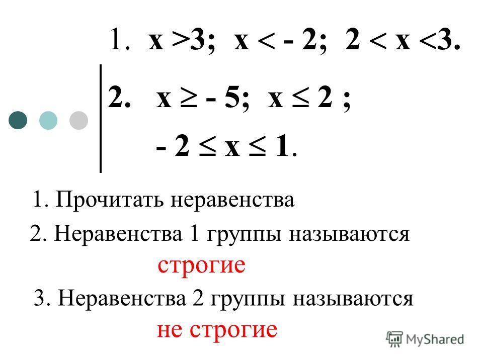 1. х >3; х - 2; 2 х 3. 2. х - 5; х 2 ; - 2 х 1. 1. Прочитать неравенства 2. Неравенства 1 группы называются строгие 3. Неравенства 2 группы называются не строгие